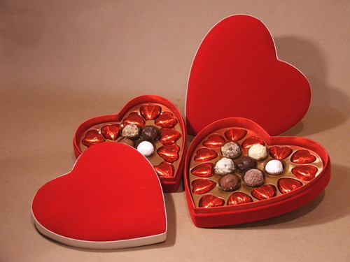 Chocolates in puso box