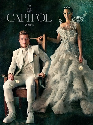 Peeta Mellark and Katniss Everdeen wallpaper possibly containing a bridesmaid, a gown, and a dinner dress entitled Citizen Activity: A Capitol Wedding
