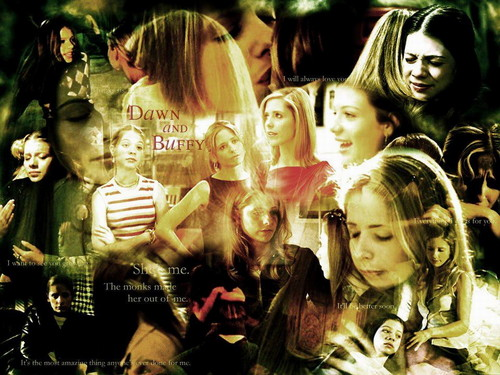 buffy, a caça-vampiros wallpaper probably containing a portrait entitled Dawn & Buffy