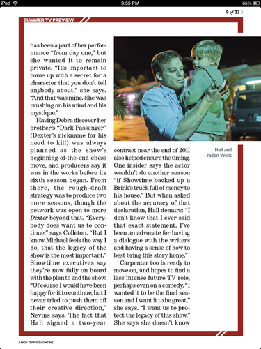 Dexter - Season 8 - EW Magazine Scans