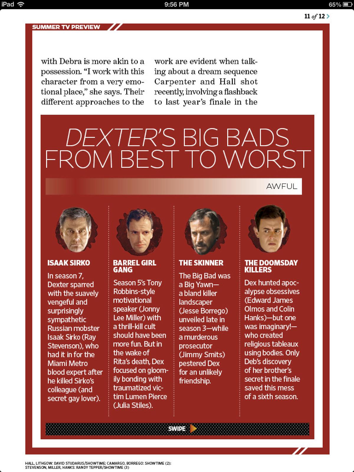 Dexter - Season 8 - EW Magazine Scans