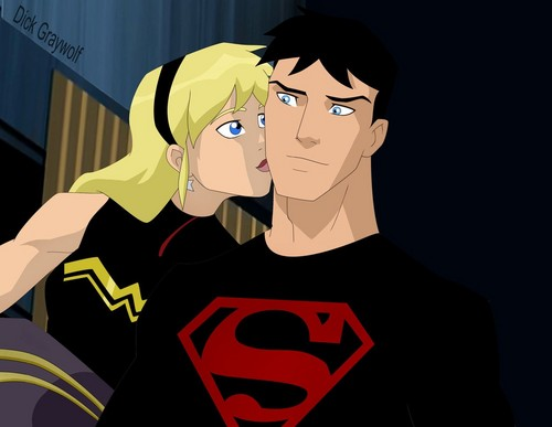 Young Justice karatasi la kupamba ukuta possibly containing anime entitled Episode 41: War (If Wonder Girl kissed Superboy instead)