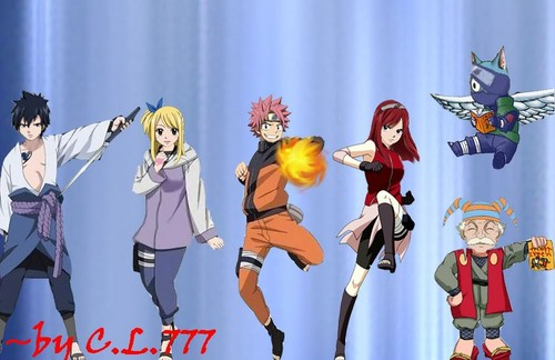 Fairy Tail x Наруто crossover