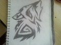Howling wolf - drawing photo