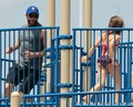 Hugh Jackman And His Daughter Play At Riverside Park - hugh-jackman photo