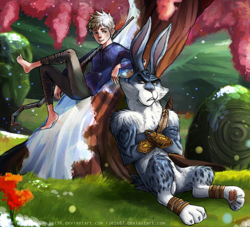 Rise of the Guardians wallpaper possibly with anime titled Jack Frost and Bunnymund
