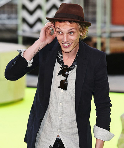 Jamie Campbell Bower wallpaper containing a business suit, a well dressed person, and a fedora called Jamie at The Royal Academy Of Arts Summer Exhibition (5th June 2013)
