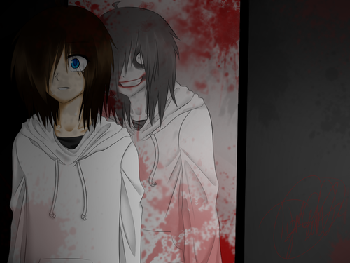 creepypasta wallpaper probably with a portrait titled Jeff The Killer