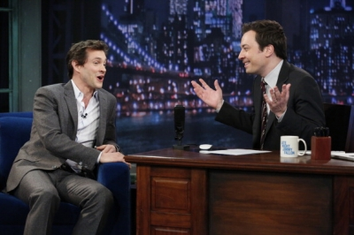 Hugh Dancy hình nền with a business suit, a suit, and a well dressed person entitled Late Night With Jimmy Fallon