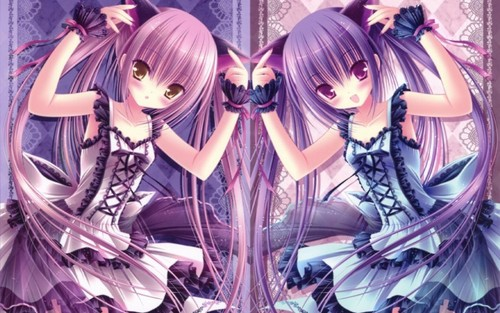 kawaii anime fondo de pantalla possibly containing a stained glass window entitled Lolita girls (✿◠‿◠)
