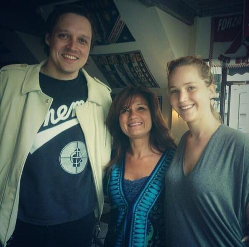 New picture of Jennifer with Win Butler at Café Olimpico in Montreal