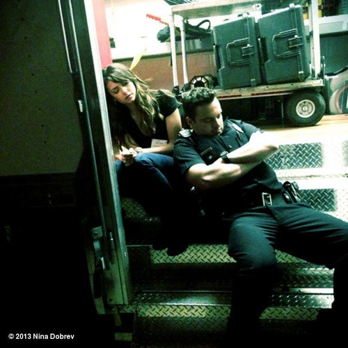 "Nina and Jake Johnson on set of ""Let's Be Cops"""