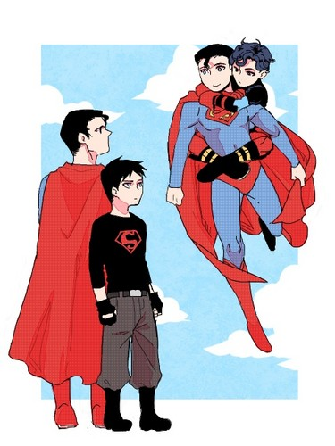 Justicia Joven fondo de pantalla containing anime titled Original Comic and Cartoon superman and Superboy