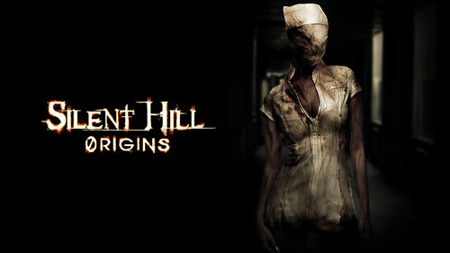 Silent Hill wallpaper possibly with an abattoir and a sign titled Origins