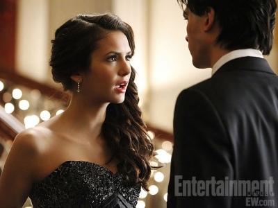Damon&Elena and Ian&Nina achtergrond possibly containing a avondeten, diner dress, a business suit, and a bridesmaid called RANDOM