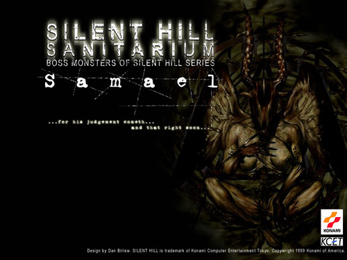 Silent Hill wallpaper probably with a sign and anime called Samael