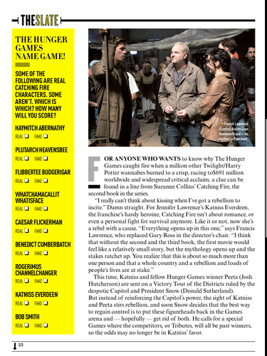 Scans of the 'Catching Fire' 文章 In Empire Magazine's July 2013 Issue