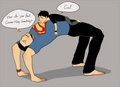 Superman and Younger Superboy yoga interruption