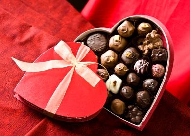 Sweet Brown Chocolate in hart-, hart box