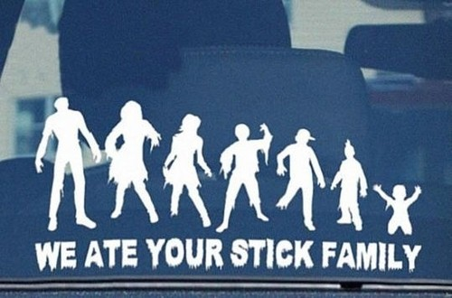 Zombies wallpaper with a fedora entitled Zombie Stick Family