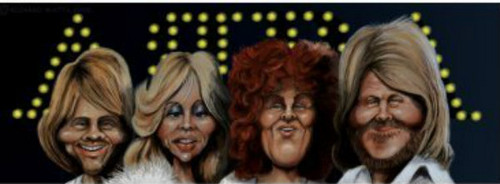 ABBA wallpaper possibly with a portrait titled abba caricature