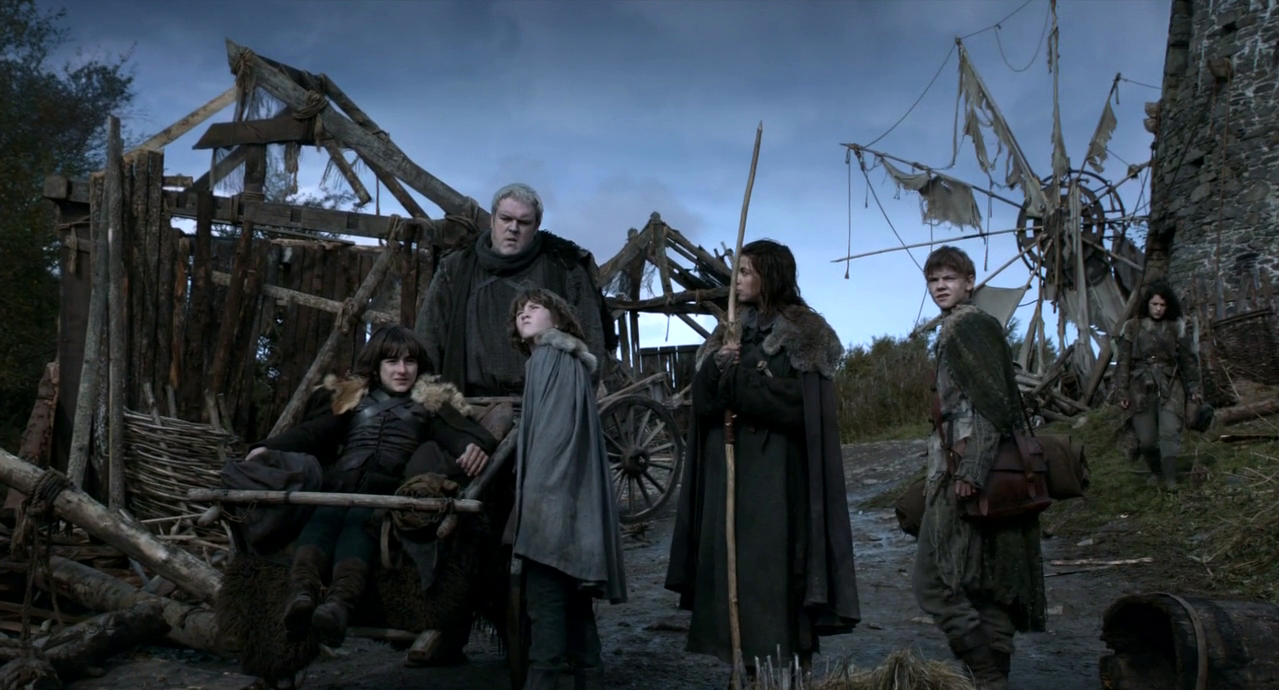 bran and rickon with osha, meera and jojen