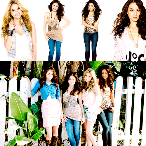 Pretty Little Liars wallpaper probably with a playsuit and a chemise titled cast