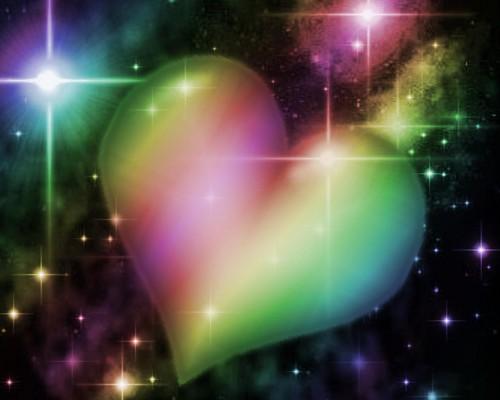 arc en ciel cœur, coeur