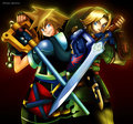 sora and link - kingdom-hearts-2 fan art