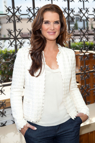 Brooke Shields wallpaper probably containing a pullover, a cardigan, and a chainlink fence entitled 'Blow Out Cancer' event 2012