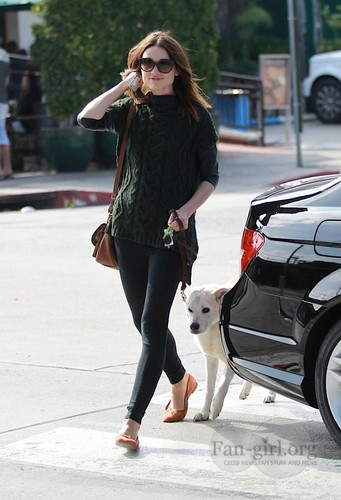 Crystal Reed in Hollywood with her dog