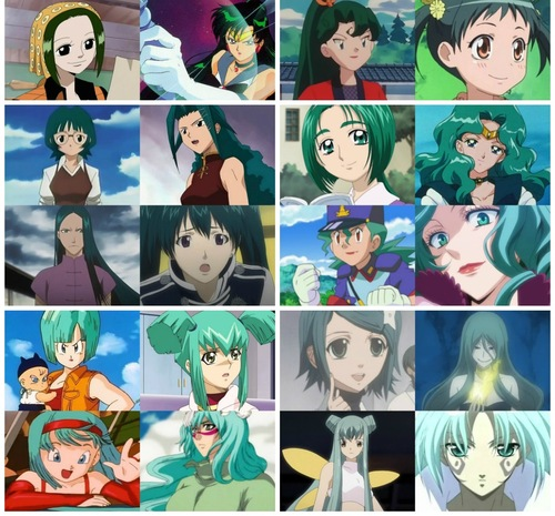 Green/Turquoise Haired عملی حکمت Characters