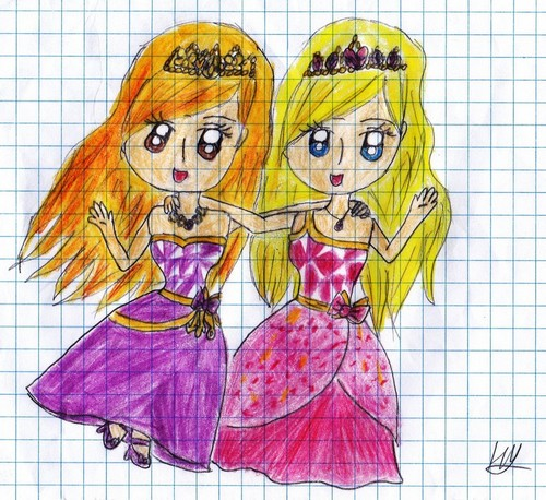 barbie Princess Charm School Blair and Delancy fã Art
