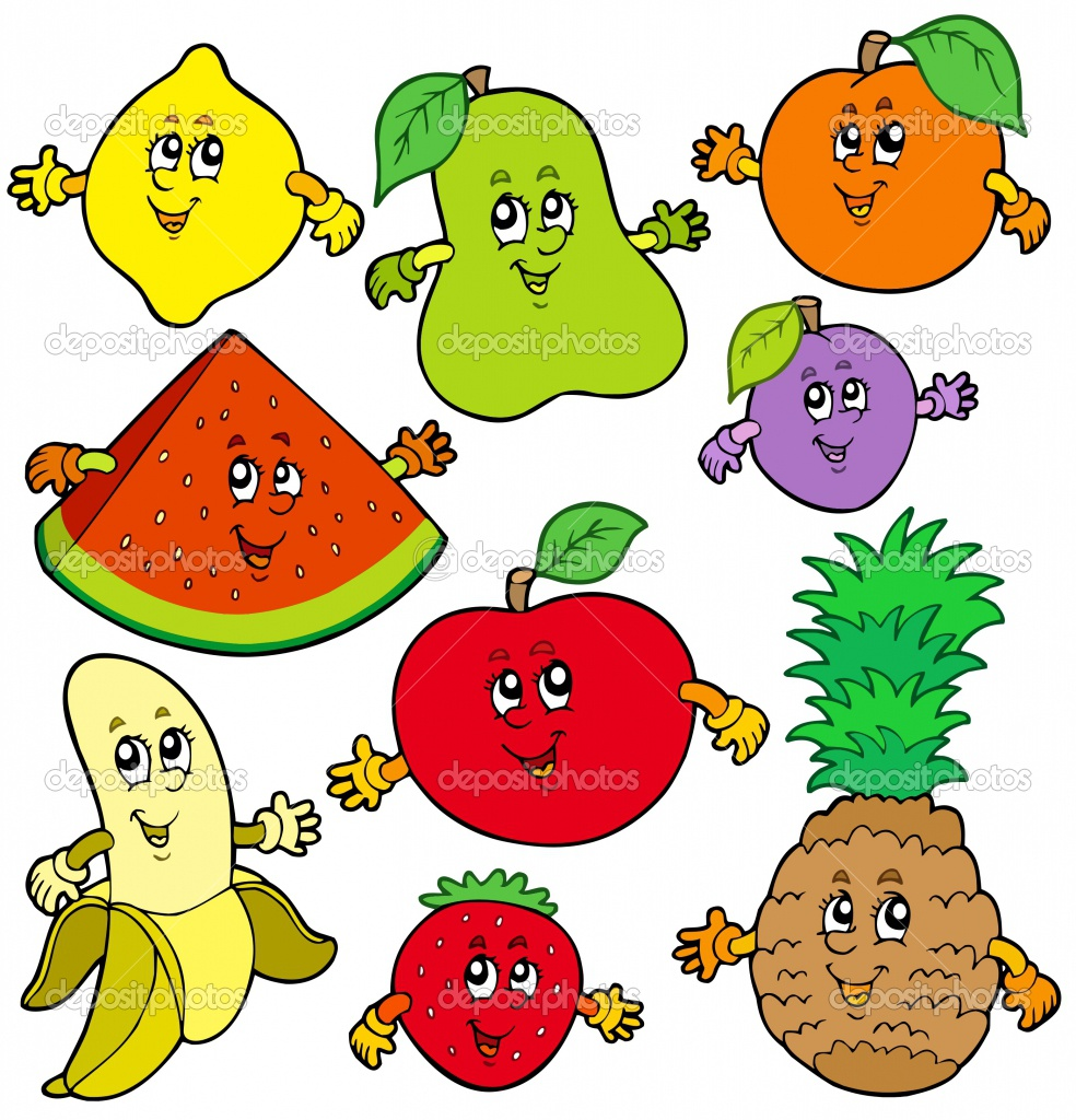 Cute And Colorful Fruits In Cartoon Colors Photo