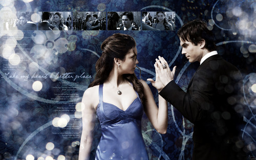 Delena Hintergrund probably with a sign, a abendessen dress, and a straße called Delena Liebe ♥