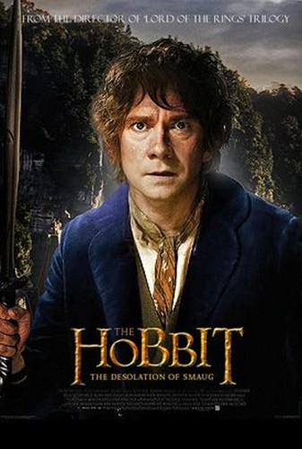 The Hobbit wolpeyper probably containing a sign, a business suit, and anime titled Desolation of Smaug