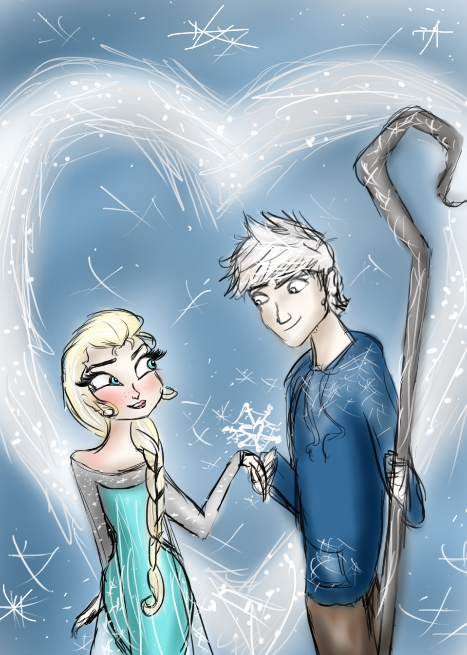 frozen images elsa and jack frost hd wallpaper and