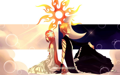 Bleach Anime wallpaper probably containing a sign called Ichigo x Orihime