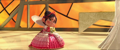 Vanellope von Schweetz wolpeyper probably with a bouquet, a hoopskirt, and a hapunan dress entitled In the Wedding Ceremony of Felix and Calhoun