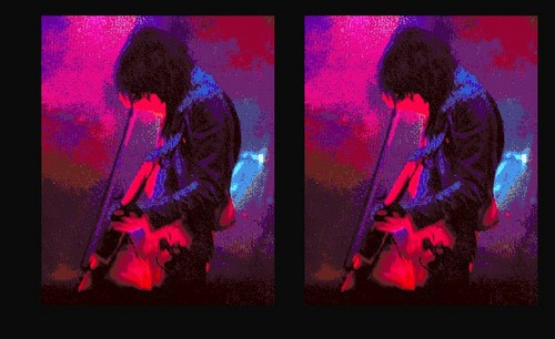 Jimmy Page of Led Zeppelin Bowing Background