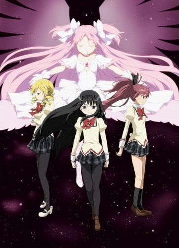 Mahou Shoujo Madoka Magica hình nền probably containing a hip boot called Madokami and the Grand Trio