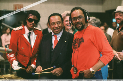 Michael In The Recording Studio With Quincy Jones And Lionel Hampton