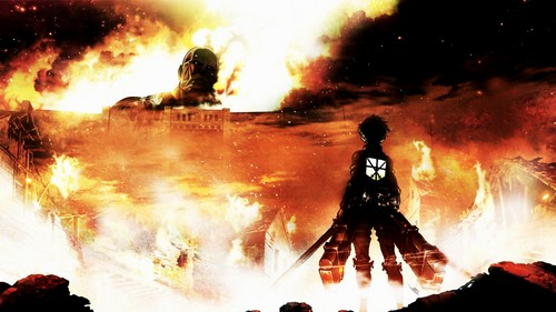 Ataque a los titanes imgenes shingeki no kyojin hd fondo de ataque a los titanes fondo de pantalla with a fire a fire and a shingeki no kyojin voltagebd Choice Image