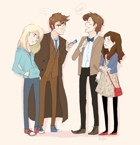 The Eleventh Doctor karatasi la kupamba ukuta titled Ten meets Eleven and...