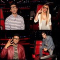 The voice Judges with usher's glasses