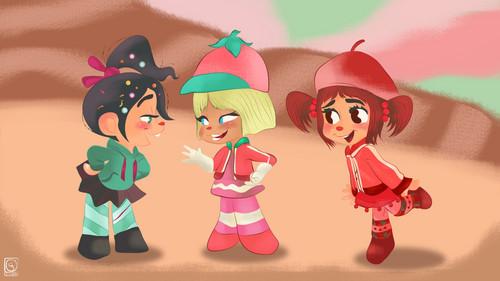 Vanellope, Taffyta and Jubileena