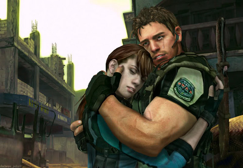 Resident Evil wallpaper possibly with a green beret, a street, and a rifleman titled jill and chris