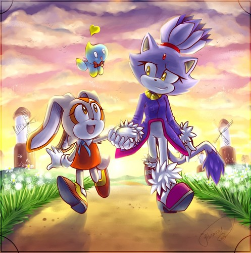 Blaze the Cat wallpaper possibly with anime entitled .:Blaze and Cream:.