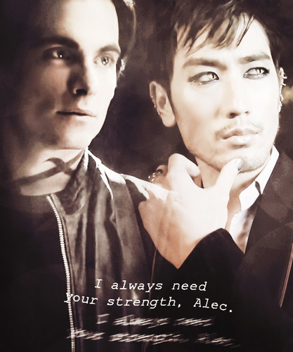 "Alec & Magnus 壁紙 probably with a business suit and a portrait called ""I always need your strength"""