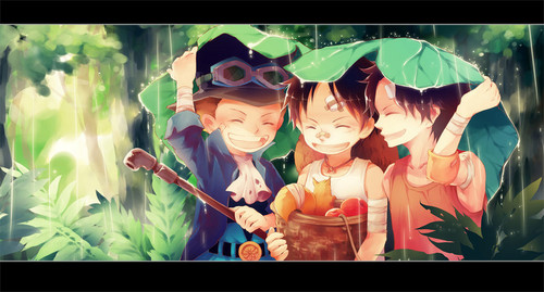 Monkey D. Luffy kertas dinding entitled *Sabo*Luffy*Ace*
